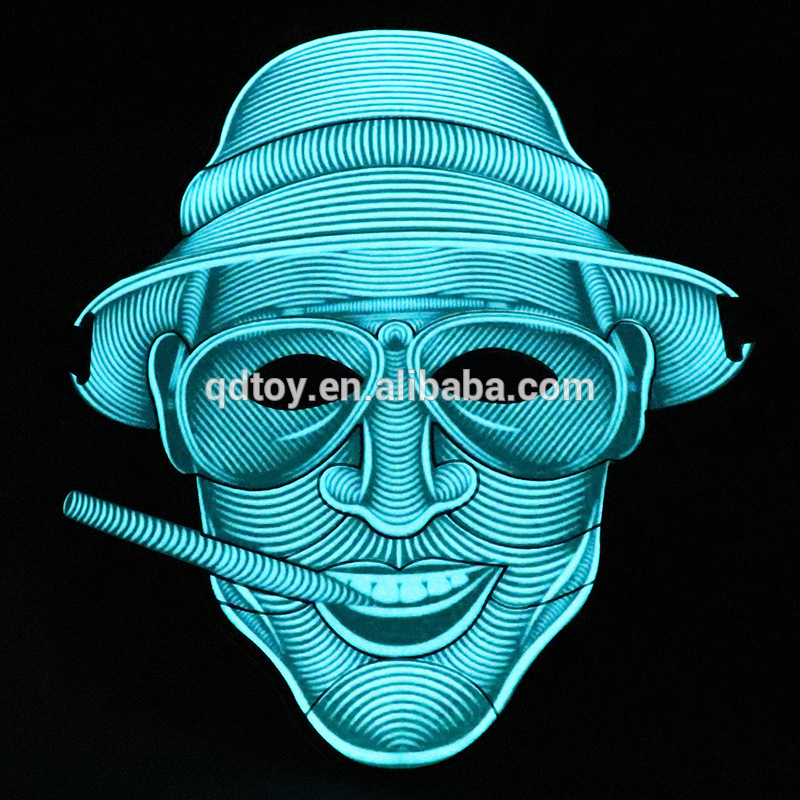 LED Mask Halloween Sound Activated Street Dance Rave Cosplay light up Masquerade Party Mask