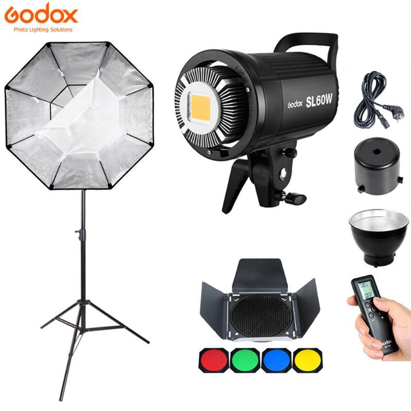 DE Godox SL-60W 60W 5600K White Version LED Video Licht+95CM Bowens Grid softbox