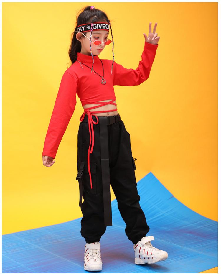 Kids Hip Hop Clothing High Neck Sweatshirt Shirt Top Crop Black Running Casual Pants for Girl Jazz Dance Costume Dancing Clothes (13)