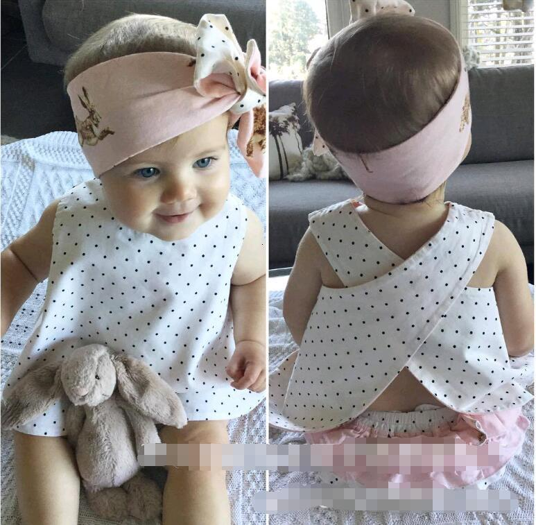 Cute Baby Kids Clothing Sets Two Sided Wear Dots Rabbit Print Cross Back Clothes Suits for Newborn Baby Girls