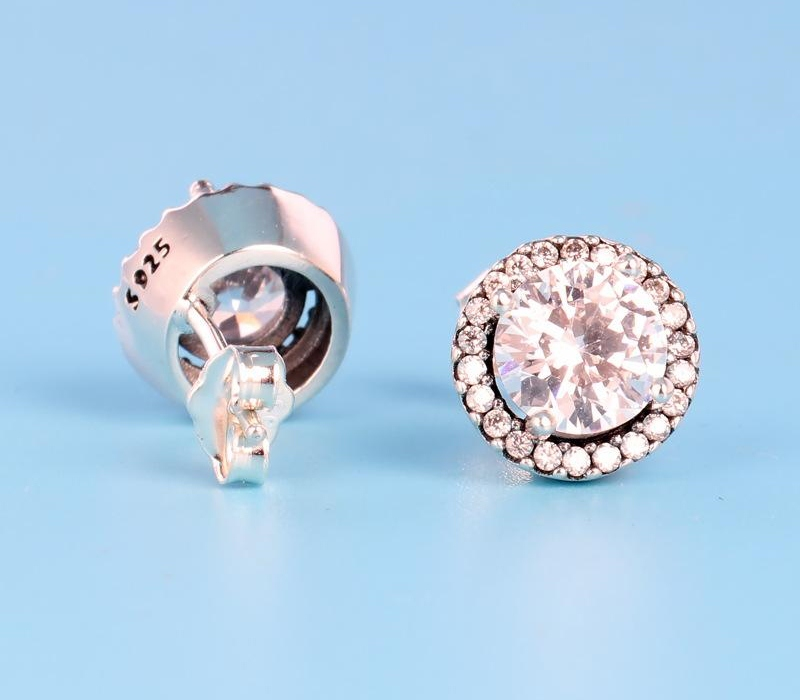 Classic design Round CZ Diamond Stud EARRING set Original box for Pandora 925 Sterling Silver Earrings Fashion accessories