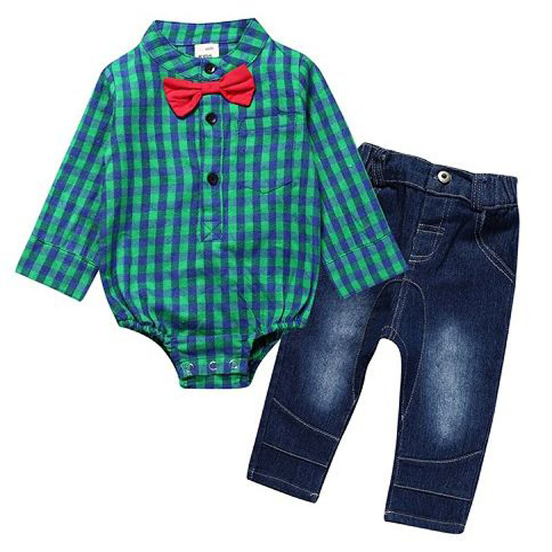 baby boy clothes Long sleeve rompers with tie+jeans pants clothing set for 0-3Y children gentleman clothes kids outfits set