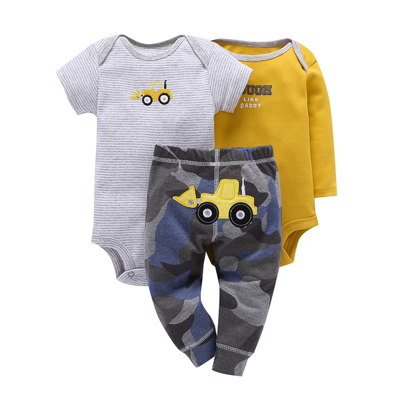 2020 infant newborn baby clothing set cotton long sleeve rompers letter+pants camouflage boy girl spring summer 3 pieces outfits