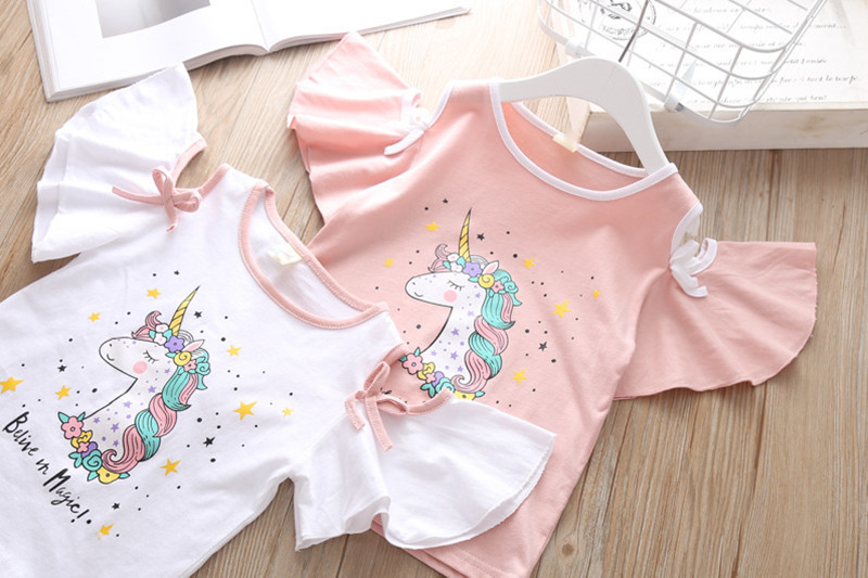 Summer Children`s Clothing Sets Girls Embroidered Cartoon Unicorn T-shirt And Rainbow Skirt Suit Kids Short Sleeve Clothes Sets (4)