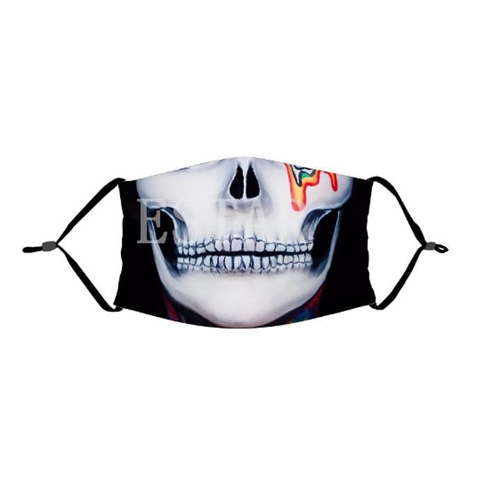 Face Mask Skull Reusable 3D Painting Pumpkin Grimace Cotton Face Mask Reusable Protective PM2.5 Carbon Filters Washable Adult Kids Face Mask