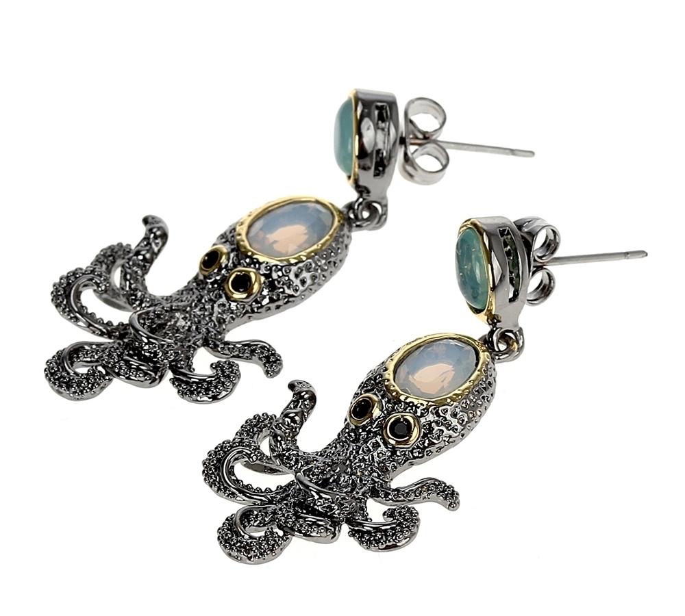 WE3875 octopus earrings vintage antique gothic jewelry women cz zircon opal (4)