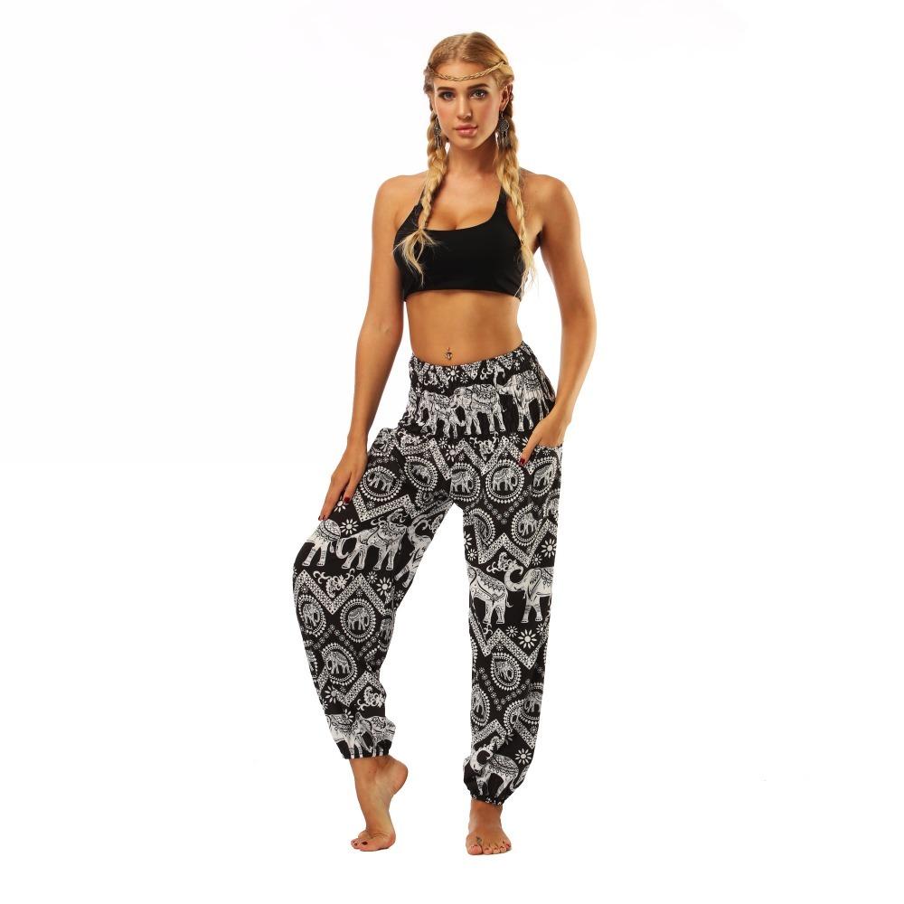 TL008- Black and white elephant wide leg loose yoga pants leggings (2)