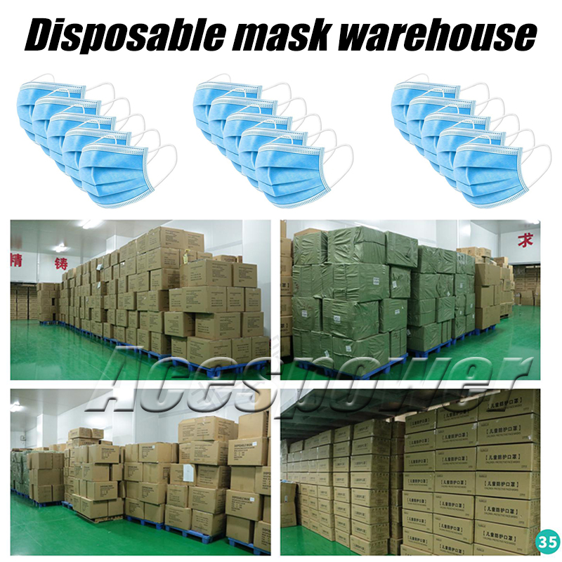 Disposable Face Mask meltblown cloth masks Facial Protective Cover Mouth Masks Non-Woven Fabric Prevent Anti-Dust in Stock
