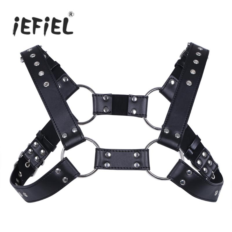 Men/'s Faux Leather Chest Harness Buckles Bondage Clubwear Costume Bla /%a