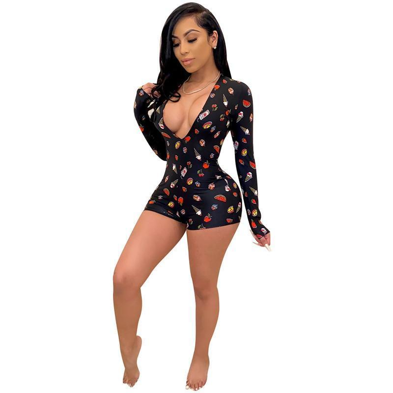 Womens summer fashion clothes Print Playsuit V neck long sleeve shorts Skinny Jumpsuits Pajama Onesies Rompers nightclub Plus Size clothing