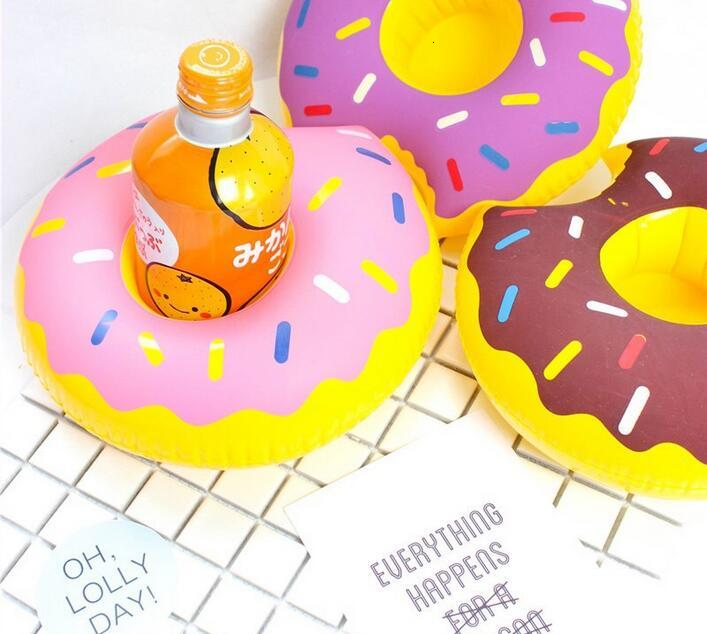 HOT PVC Inflatable Drink Cup Holder 7 styles Donut Flamingo Watermelon Pineapple Lemon Shaped Floating Mat Floating Pool Toys