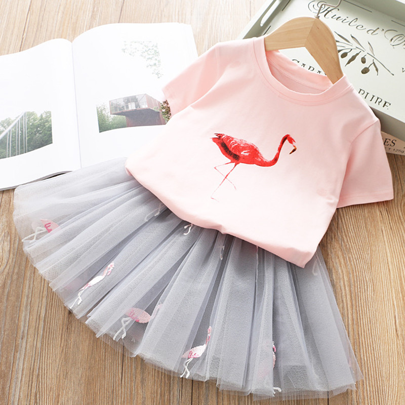 2019 Summer Girl Clothing Sets Kids Embroidered Cartoon Unicorn T-shirt And Rainbow Skirt Suit Fashion Baby Girls Clothes Set (3)
