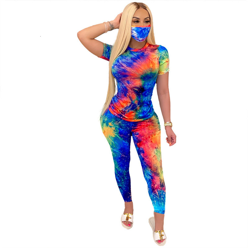 Floral Tie Dye Womens Tracksuits Contain Mask Short Sleeve With Long Pants Slim Summer Womens Two Pieces Pants