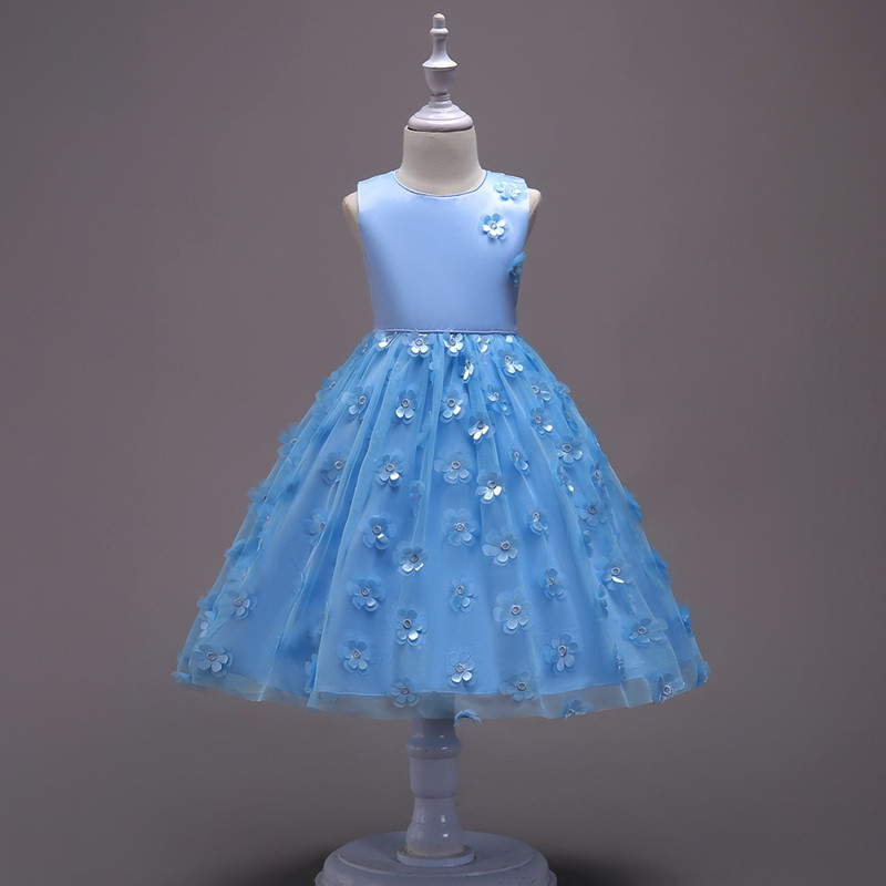 2019 Fashion Children Dresses For Girl Clothes Elegant Fower Girls Dress Kids Princess Birthday Applique Prom Designs Ball Gown (5)
