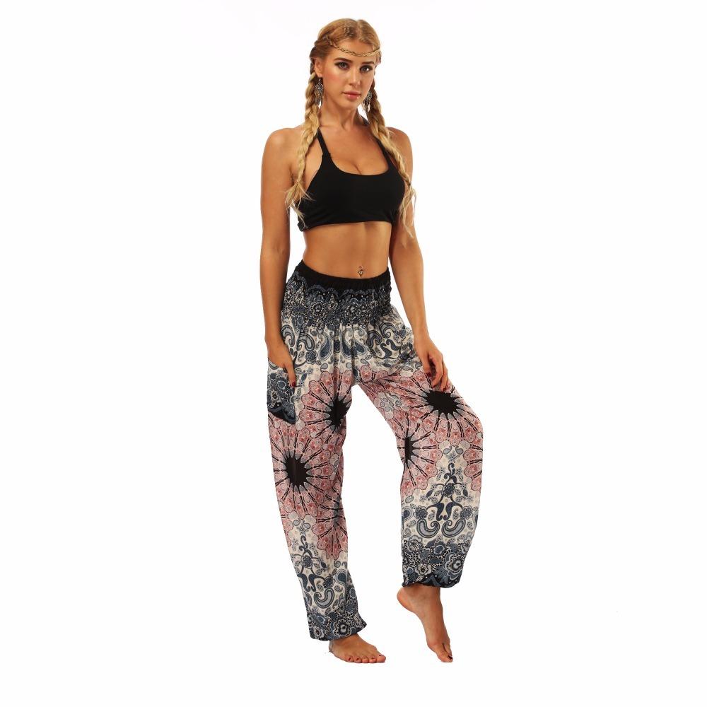 TL010- Watercolor floral wide leg loose yoga pants leggings (4)