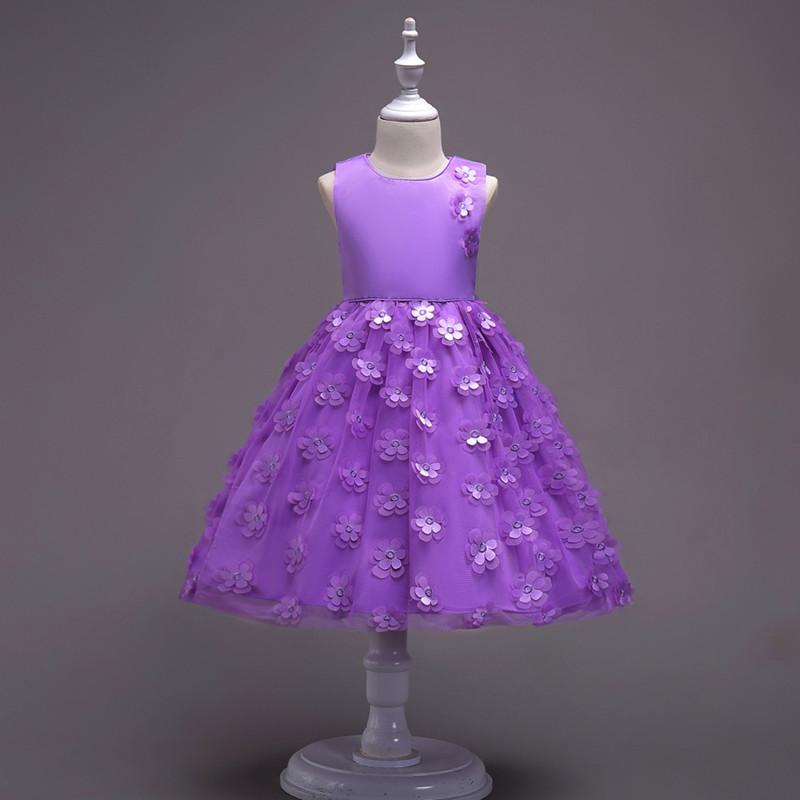 2019 Fashion Children Dresses For Girl Clothes Elegant Fower Girls Dress Kids Princess Birthday Applique Prom Designs Ball Gown (14)