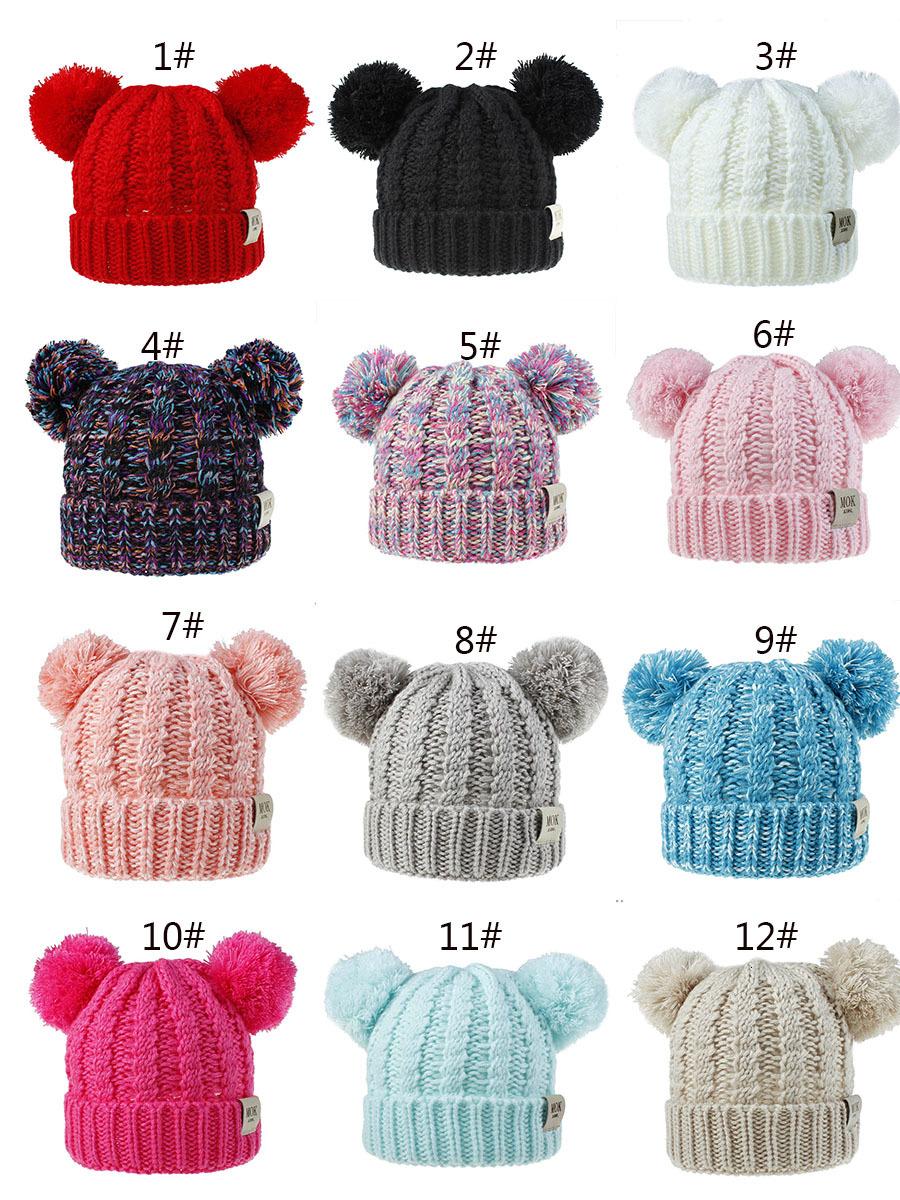 12 Styles Baby Girls Knit Cap Kid Crochet Pom Pom Beanies Hat Double Fur Ball Hats Children Knit Outdoor Caps Kids Accessories M315