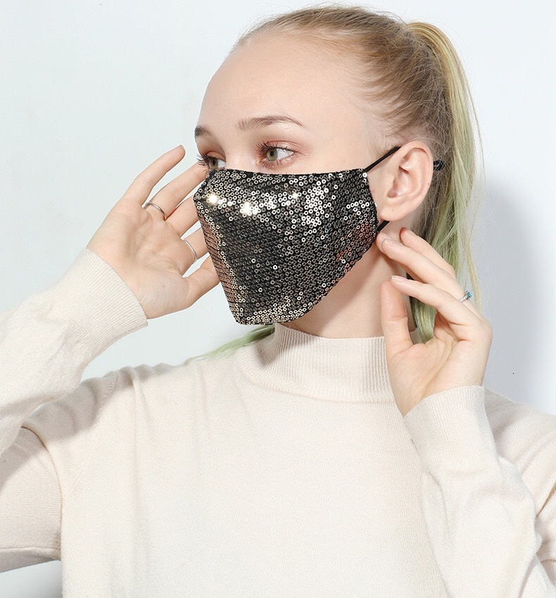 Fashion Bling Sequins Face Mask for Women Dustproof Protective Masks Washable Reusable Elastic Earloop Mouth Mask Black Gold Red LQQ29