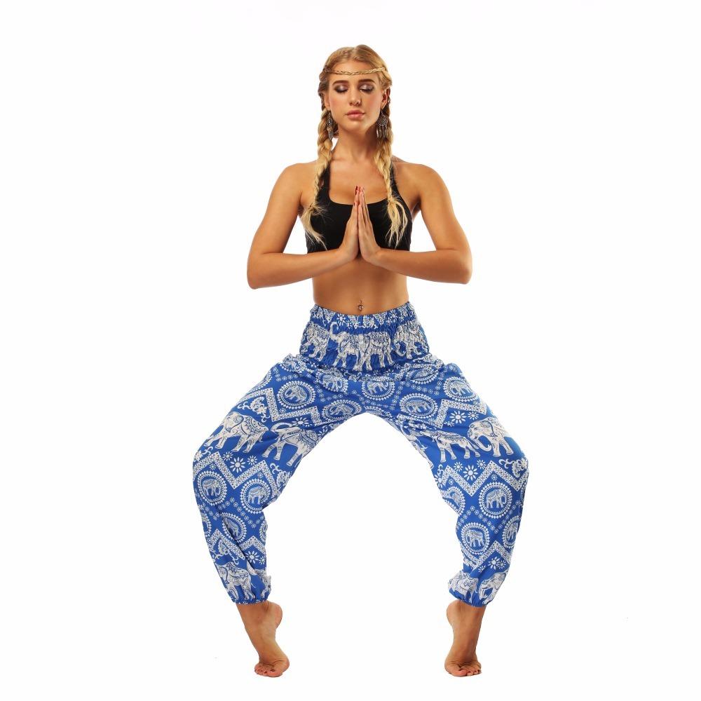 TL009- blue and white elephant wide leg loose yoga pant leggings (1)