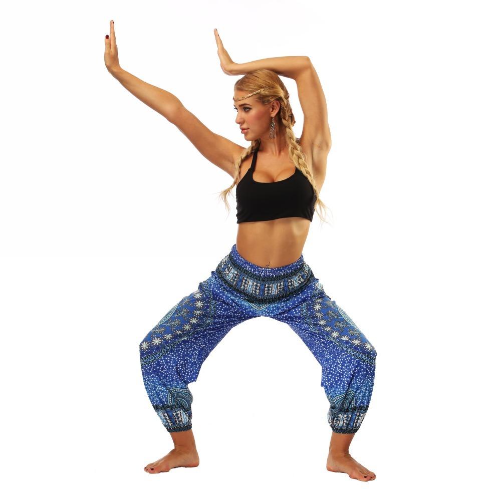 TL007- Blue round circle Thailand style wide leg loose yoga pants leggings (4)