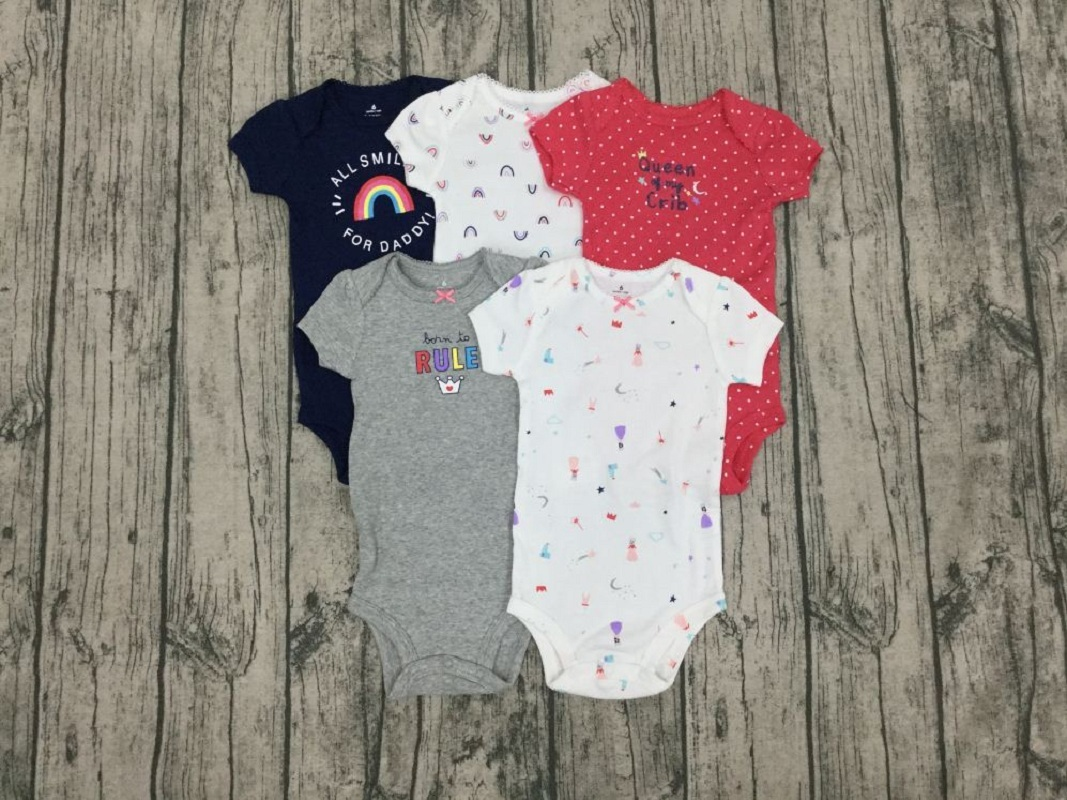 baby girl short sleeve romper cartoon 2020 summer clothes newborn baby boy rompers 5pcs/set onesie clothing 6-24M