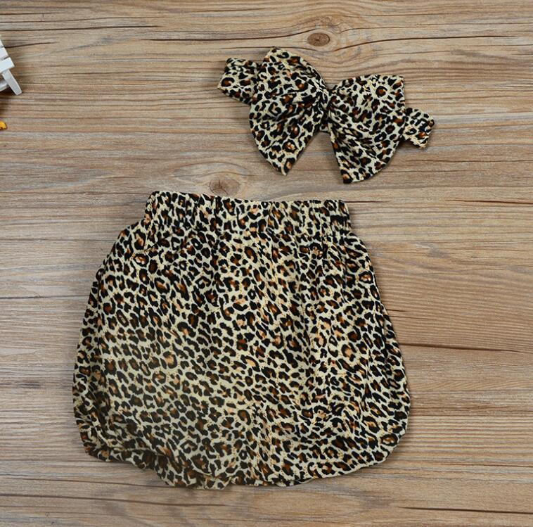 Baby Girls Clothes Sets Children Cowboy Shirt Leopard print Skirt and Headdress Suits for Kids fit 1-5 Years