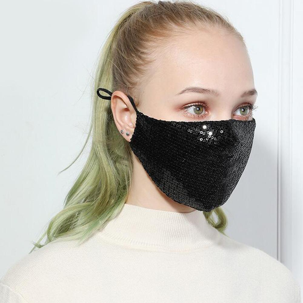 Hot Sequin Cotton Face Mask Fashion Bling-bling Glitter Anti Pm2.5 Dust Mouth-muffle Cover Washable Reusable Half Face Mask For Party hOiP