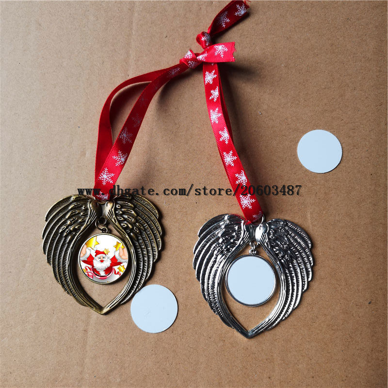 sublimation christmas ornament decorations angel wings shape blank hot transfer printing two-sided printing consumables factory price
