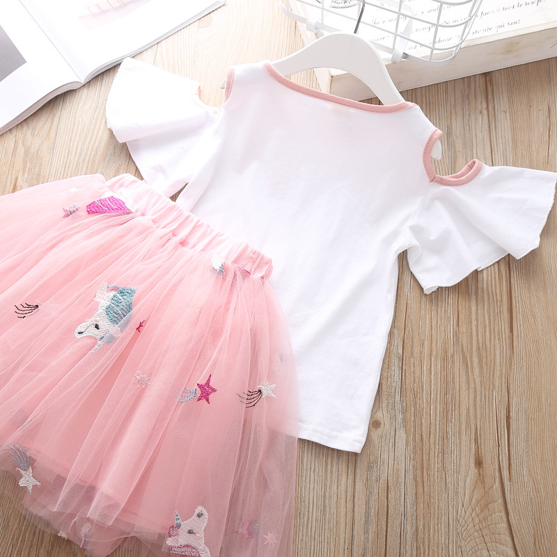 Summer Children`s Clothing Sets Girls Embroidered Cartoon Unicorn T-shirt And Rainbow Skirt Suit Kids Short Sleeve Clothes Sets (6)