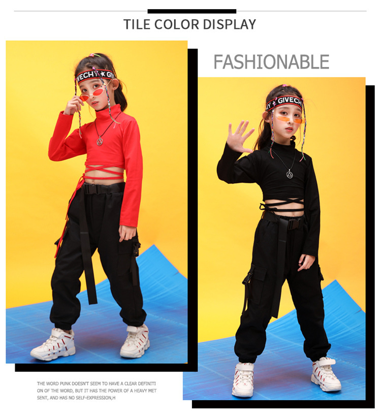 Kids Hip Hop Clothing High Neck Sweatshirt Shirt Top Crop Black Running Casual Pants for Girl Jazz Dance Costume Dancing Clothes (3)