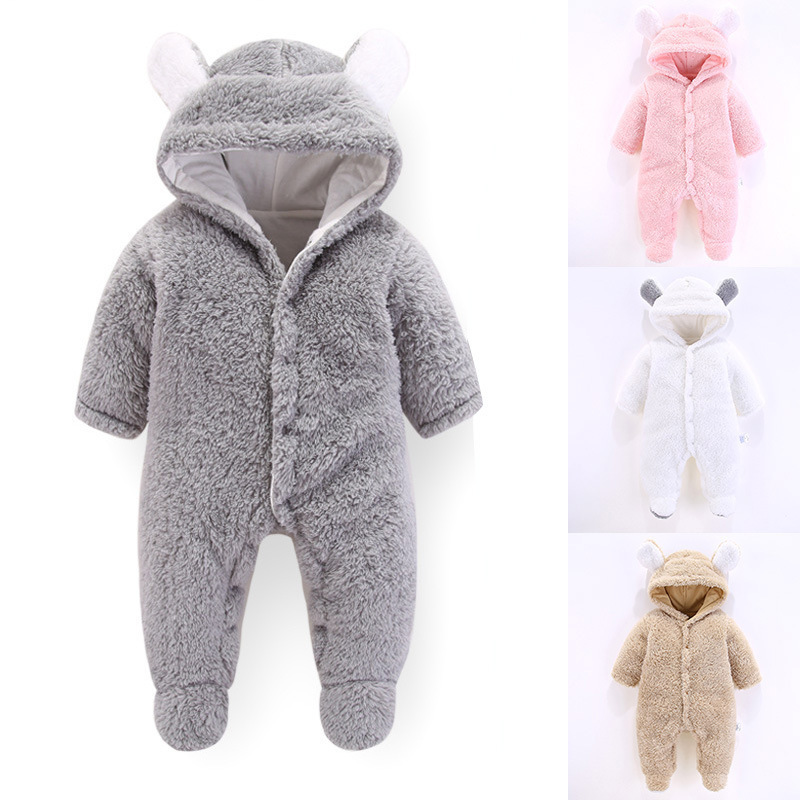 2019 new born Baby Winter jumpsuit Onesie Thick clothes girls boys hooded new born costume warm Flannel Cotton Lining gray pink