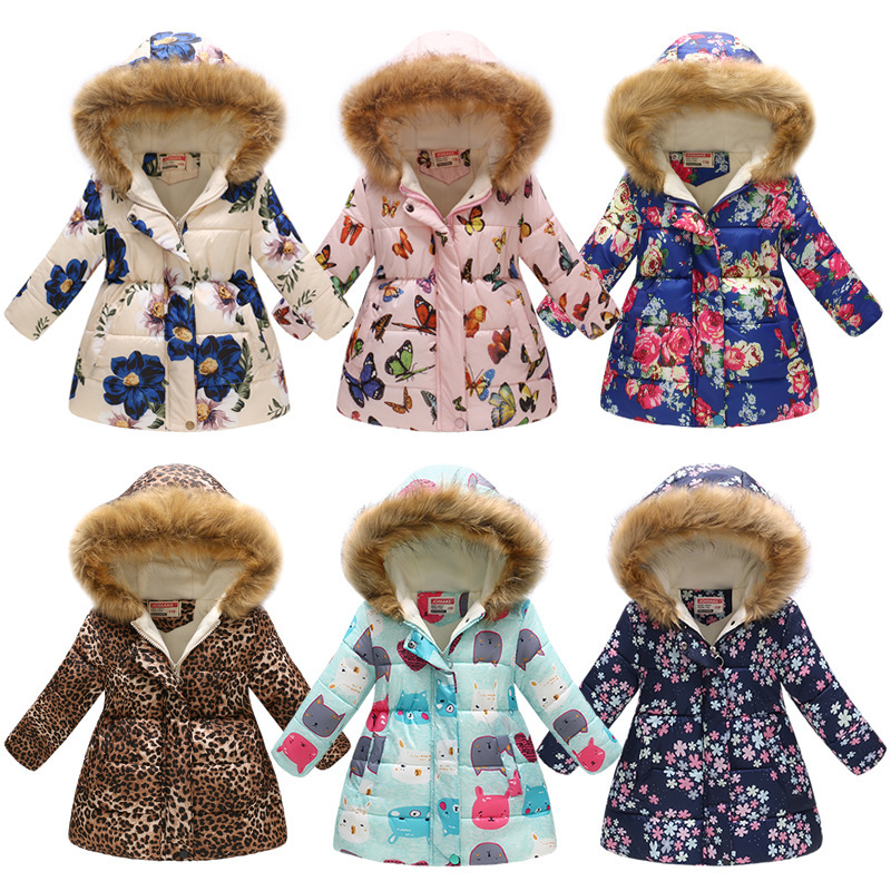 KID GIRL HOODED JACKET Children winter Warm floral print long Coats Thicken Cotton Padded 2019 fashion Outerwear for 4-8 years