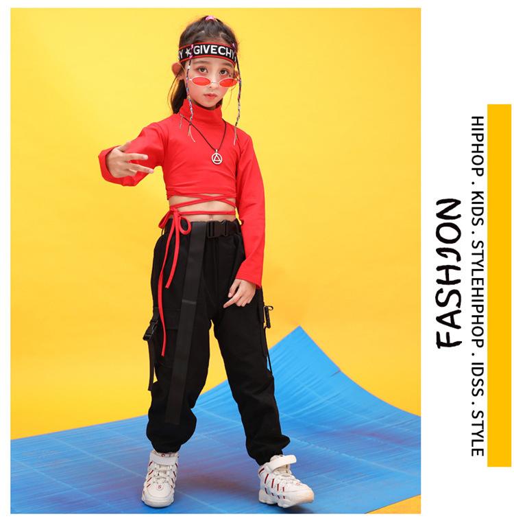 Kids Hip Hop Clothing High Neck Sweatshirt Shirt Top Crop Black Running Casual Pants for Girl Jazz Dance Costume Dancing Clothes (14)