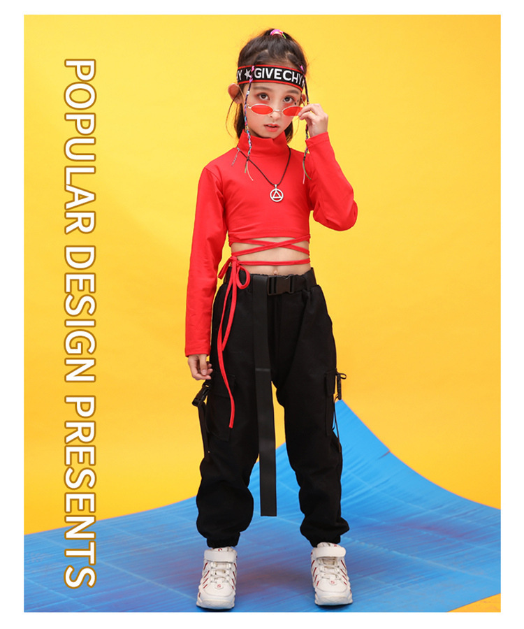 Kids Hip Hop Clothing High Neck Sweatshirt Shirt Top Crop Black Running Casual Pants for Girl Jazz Dance Costume Dancing Clothes (12)