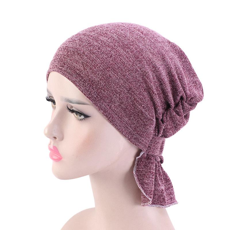 Womens Muslim Hijab Cancer Chemo Stretchy Cotton hat Turban Cap Cover Hair Loss Head Scarf Wrap Pre-Tied Headwear Strech Bandana