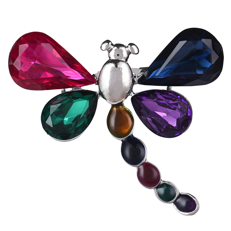 Cring coco 2020 Romantic Colorful Crystal Dragonfly Brooches & Pins for Women Fashion Insect Alloy Party Garment Accessories