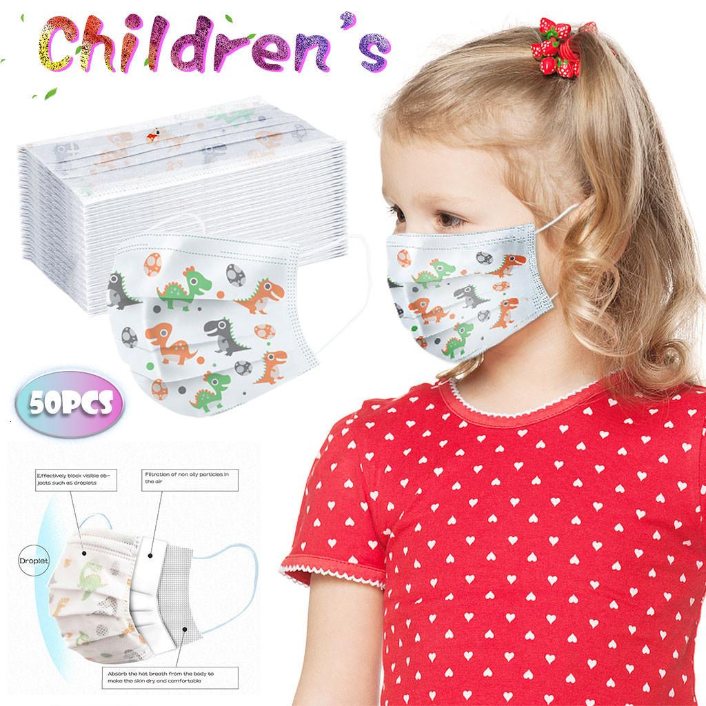 Children Disposable Masks Cartoon Dinosaur Kids Masks 3 Layers Protection Mouth Mask Breathable Mascarillas
