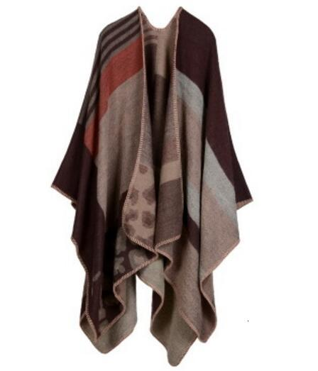 Autumn winter scarf cantilever lady travel cape imitation cashmere European and American foreign trade nationality wind fork thickening cape