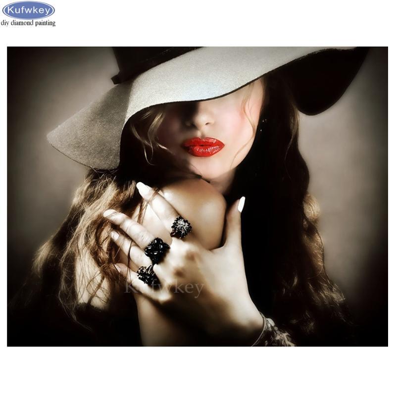 2020 Christmas Winter Velvent Linen Canvas Painting 79*58cm Round Diamond And Ab Diamond Discount Woman Hats Paintings | Woman Hats Paintings 2020 on Sale