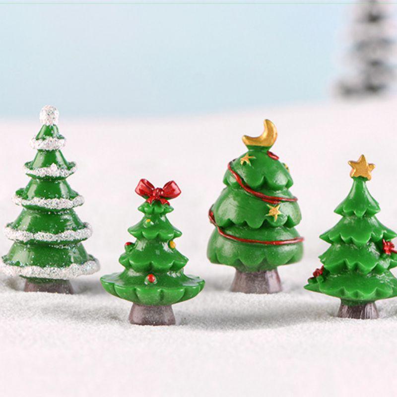 2XMiniature Xmas Tree Figurine Fairy Garden Statues DIY Crafts Toy Ornaments