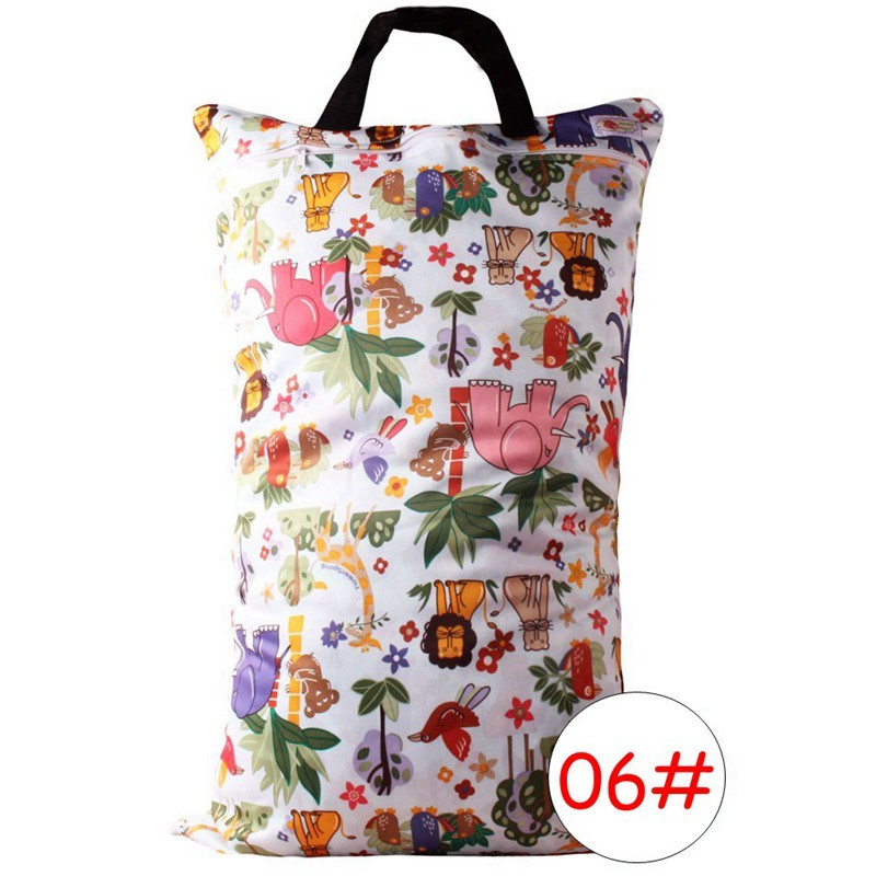 Baby Diaper Nappy Bags Travel Cloth Diaper Wet Bag Laundry Wet / Dry Bags Animal Print Mummy Handbag Carrier Storage Bag Organizer 40*70cm