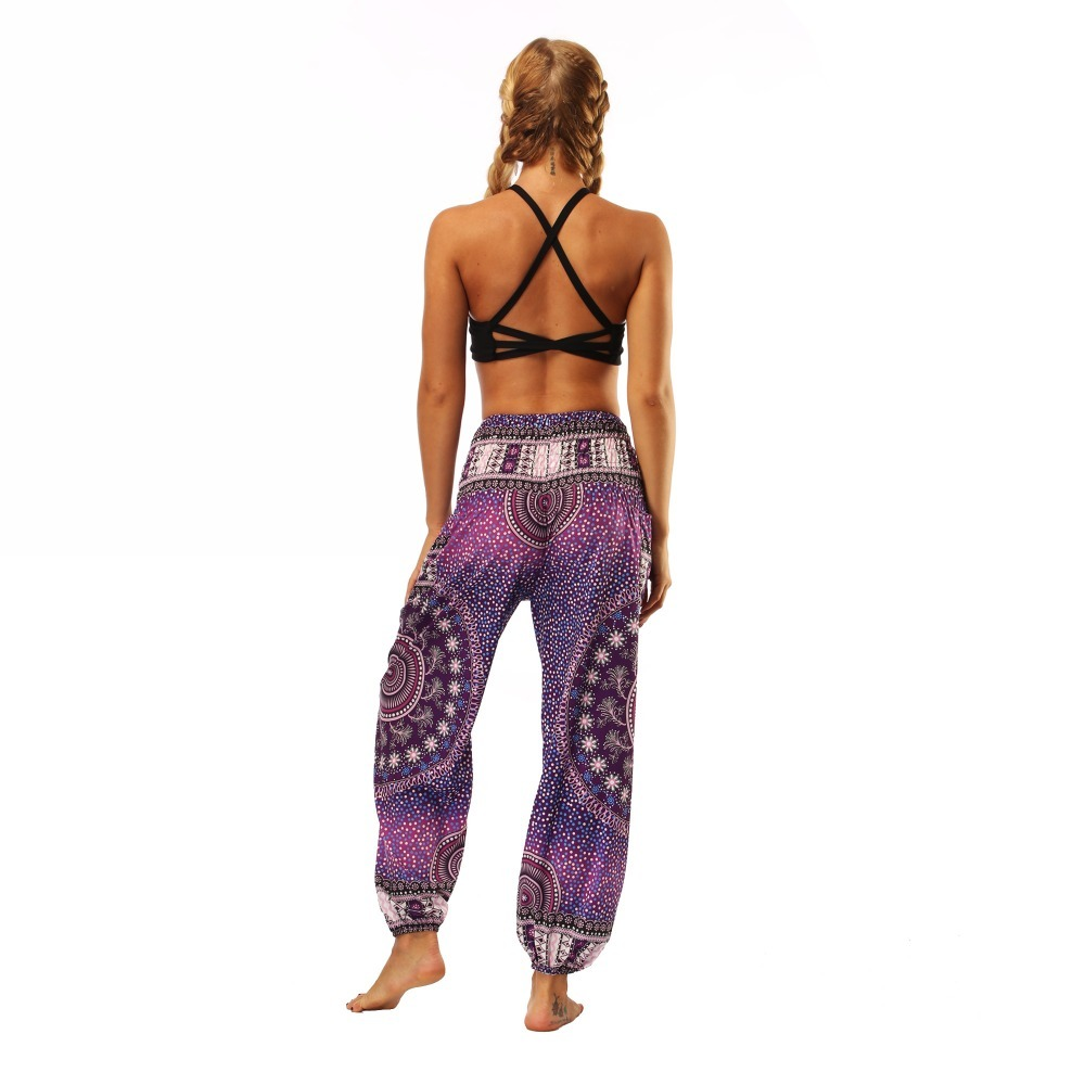 TL005- Purple galaxy floral wide leg loose yoga pant leggings (7)