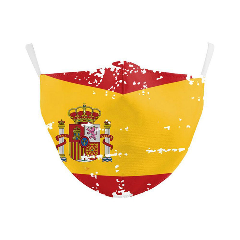 Forza Italy Spain Flag Print Mask Keep Fighting Face Masks Fabric Adult Protective Pm25 Reusable Mask Proof Washable Children lystore2010 Og