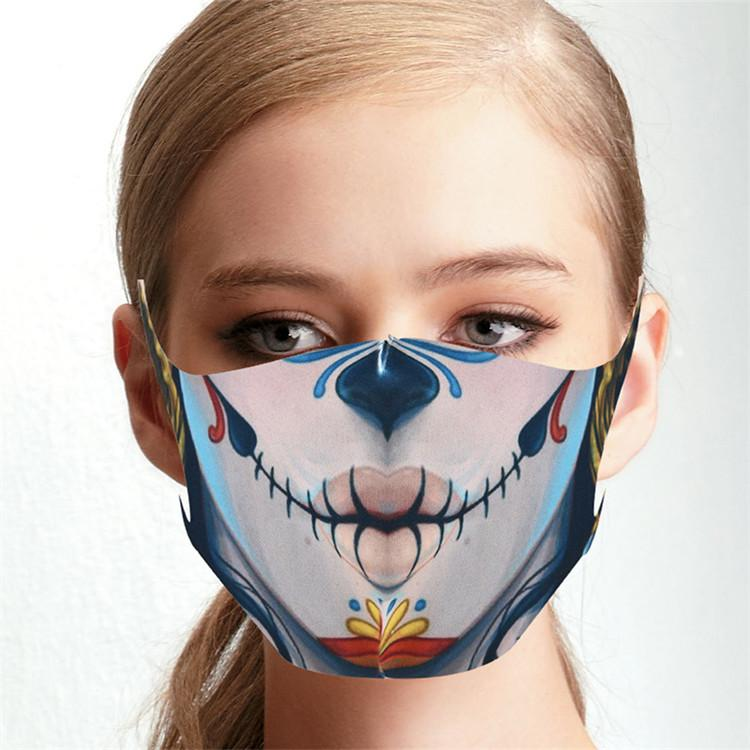 US Stock Halloween Party Masks Fun Mask Cosplay Digital Print Novelty Skull Mask Cotton Men Women Cosplay Face Mask Dust Windproof