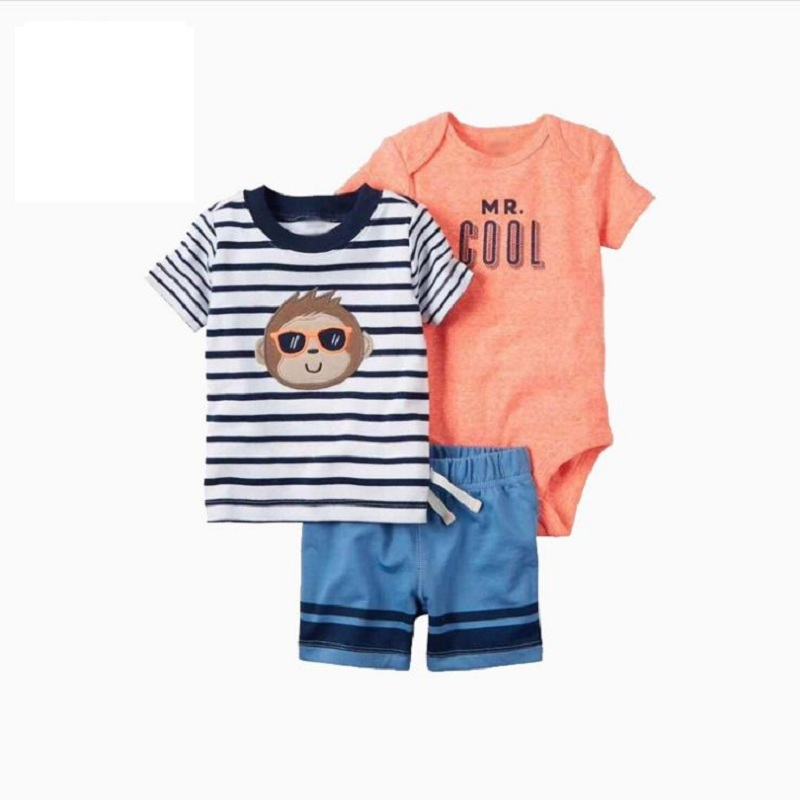 baby boy girl clothes set letter print T-shirt tops+romper+pant 2020 Summer newborn outfit infant clothing suit new born costume