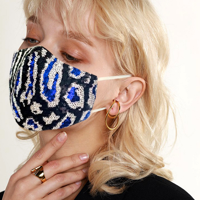 Fashion Bling Leopard Print Sequined Cotton Mask Dustproof Mouth Masks Designer Washable Reusable Women Face Mask High Quality Masks