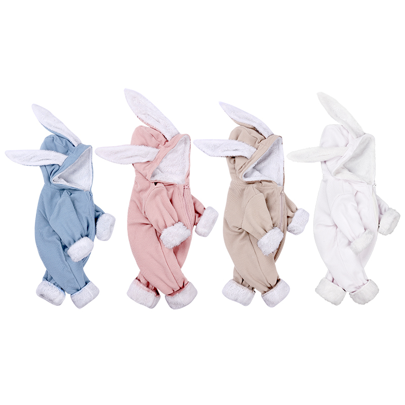 winter baby girl clothes long sleeve hooded rabbit ear Romper new born boy Jumpsuit Fleece costume unisex 0-18M zipper blue pink