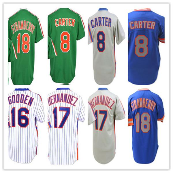 NewYork Vintage Jersey Baseball Gary Carter Dwight Gooden Darryl Strawberry Keith Hernandez White Pinstripe Blue Grey Green Pullover Shirt