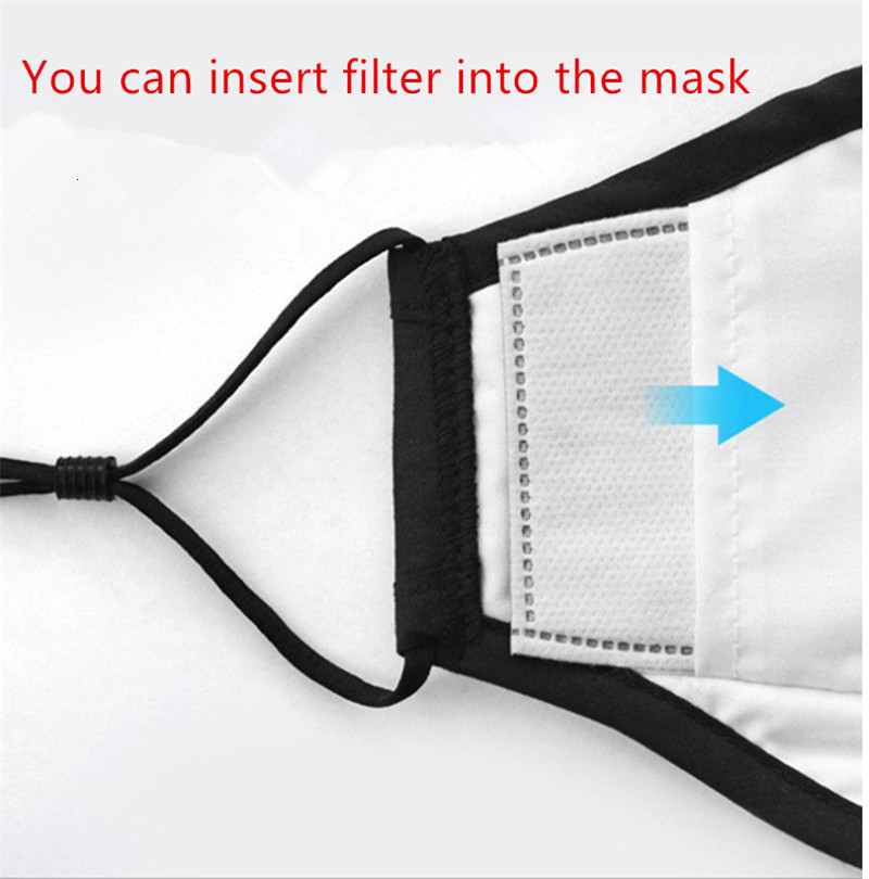 Black Reusable Face Masks Anti-Dust and Smoke Adjustable Reusable fabric cotton mouth Mask Protection with 1 Filter for Women Man