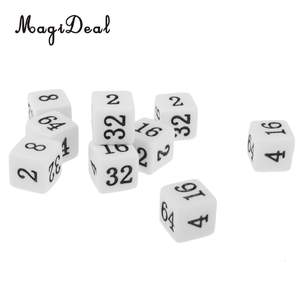 MagiDeal Novelty 10Pcs Opaque Six Sided Multiple Dice for TRPG Party Board Game Funny Family Pub Club Dice Game Toys White/Beige